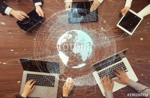 Digital devices and global network concept.